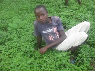 Emmanuel sitzt in einer Wiese
